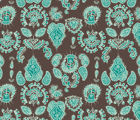 Indian Henna in blue & green fabric by angie_mac on Spoonflower - custom fabric