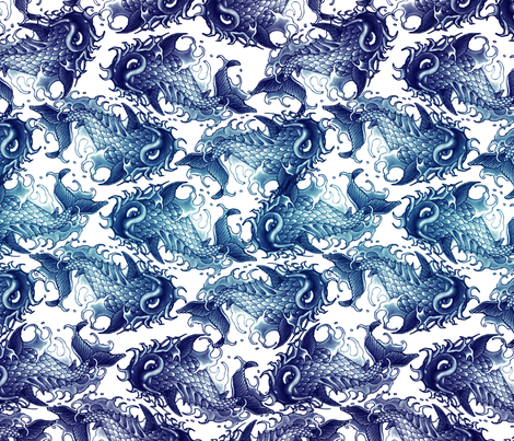 Blue Wave Koi fabric by bonnie_phantasm on Spoonflower - custom fabric