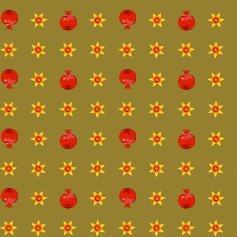 Papa's ditzy pomegranates fabric by bippidiiboppidii on Spoonflower - custom fabric