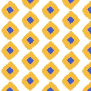 Ikat Square Saffron Blue