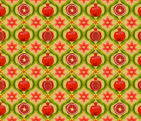 Papa's pomegranate flowers (pink & yellow) fabric by bippidiiboppidii on Spoonflower - custom fabric