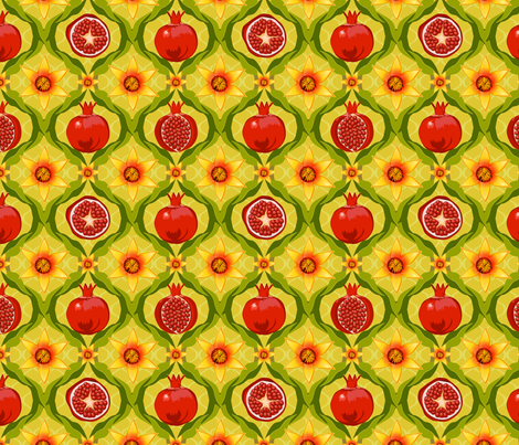 Papa's pomegranate flowers (yellow) fabric by bippidiiboppidii on Spoonflower - custom fabric