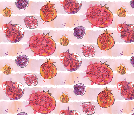 pomegranate watercolor fabric by hollyakkerman on Spoonflower - custom fabric