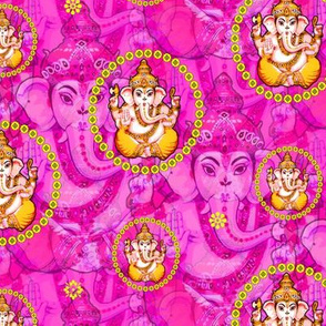 Bejewelled Ganesh on Pink