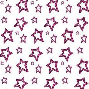 Hot Pink Stars on White