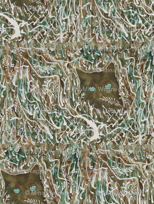 Camouflage Cat painting - viridian and burnt umber