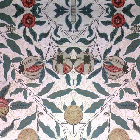 Peaches, Pears & Pomegranates fabric by flyingfish on Spoonflower - custom fabric