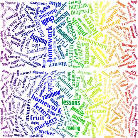 primary age rainbow words (higgeldy piggeldy) fabric by scherre on Spoonflower - custom fabric