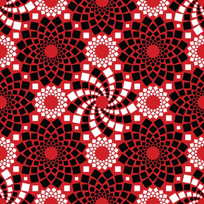 Kaleidoflowers (Red, Black and White)