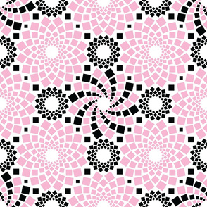 Kaleidoflowers (Pink, Black and White)