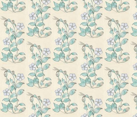 Vinca drawing - cloud colors fabric by mina on Spoonflower - custom fabric