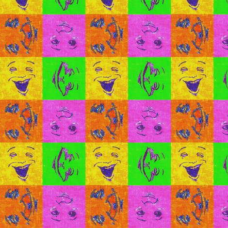 Happy Faces:SuperBrights - small fabric by tallulahdahling on Spoonflower - custom fabric
