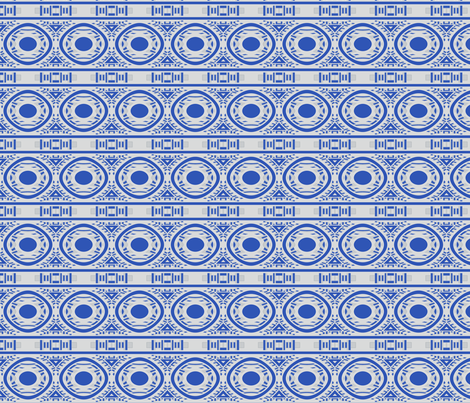 Blue and White Circle Frieze © Gingezel™ 2012 fabric by gingezel on Spoonflower - custom fabric