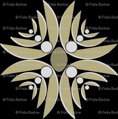 Ethnic Floral Cross in Black