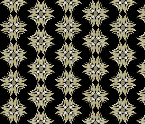Ethnic Floral Cross in Black fabric by pearl&phire on Spoonflower - custom fabric