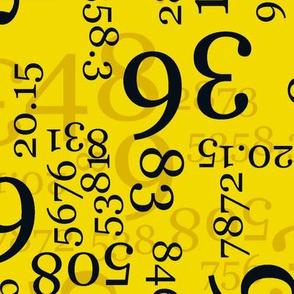 Large Black Numbers on Medium Yellow