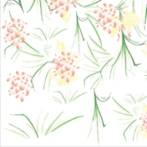 Green and Pink Delicate Floral