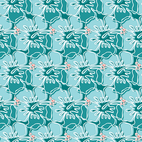teal hibiscus fabric by lisa_brown on Spoonflower - custom fabric