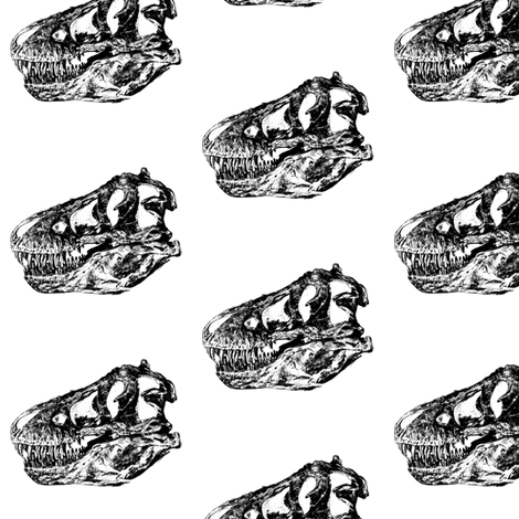 Bohemian Dinosaur | Vintage Museum Animals | T-Rex Skull | Black and White fabric by bohobear on Spoonflower - custom fabric