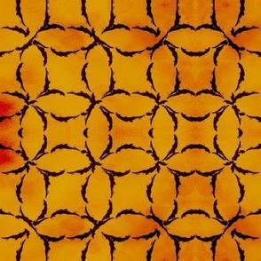 Dyed Circular Lattice in Burnt Orange