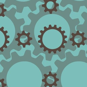 Gears in Blue and Brown