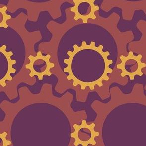Gears in Purple Orange Yellow