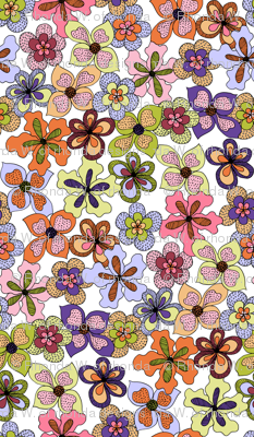 Funky Fantasy Flowers - Warm Spring on White, Double Ditsy.