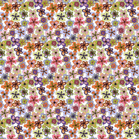 Funky Fantasy Flowers - Warm Spring on White, Double Ditsy. fabric by rhondadesigns on Spoonflower - custom fabric