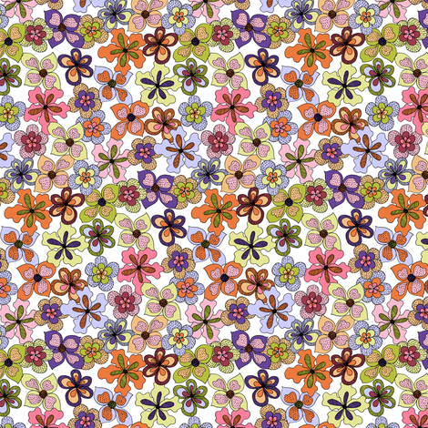 Funky Fantasy Flowers - Warm Spring on White (Ditsy). fabric by rhondadesigns on Spoonflower - custom fabric