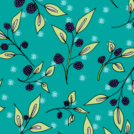 Brazenberries in Misty Twilight - large scale. fabric by rhondadesigns on Spoonflower - custom fabric