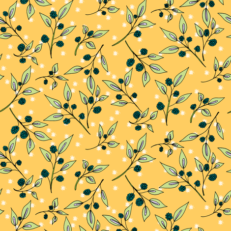 Brazenberries in Sparkling Sunlight - Medium Scale fabric by rhondadesigns on Spoonflower - custom fabric
