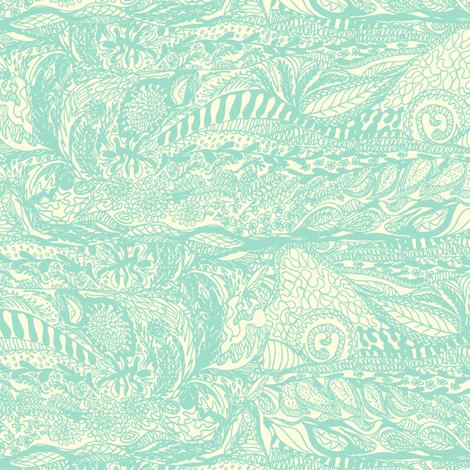 Organic Landscape - Mint on Cream. fabric by rhondadesigns on Spoonflower - custom fabric