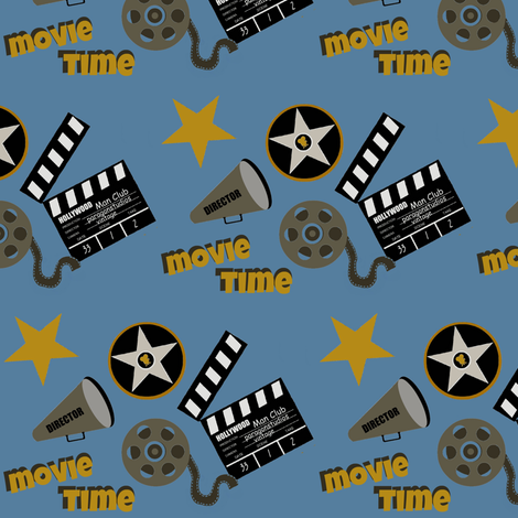 Cinema time blue fabric by paragonstudios on Spoonflower - custom fabric