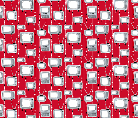 Retro Televisions Red/Grey fabric by gobennygo on Spoonflower - custom fabric