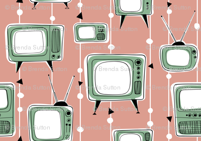 Retro Televisions Dusty Pink/Mint
