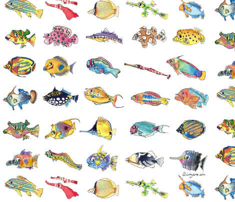 30 Cute Cartoon Tropical Fish fabric by lillyarts on Spoonflower - custom fabric