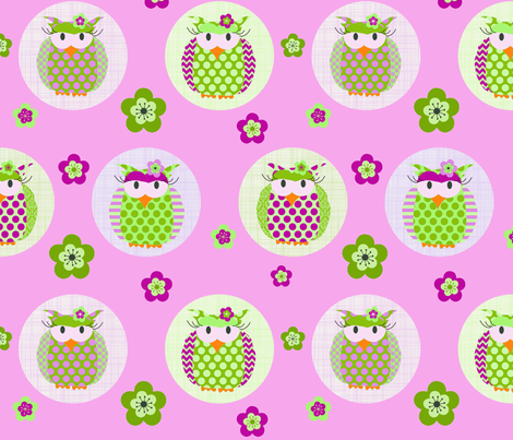 Tawny Owl pink fabric by ciconia on Spoonflower - custom fabric