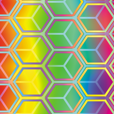 Honeycomb Rainbow 4 fabric by animotaxis on Spoonflower - custom fabric