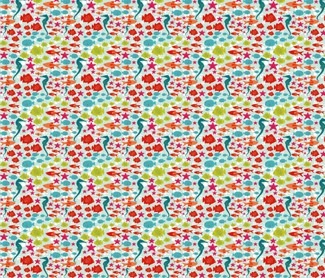 Criaturas Marinas. Sea creatures fabric by valmo on Spoonflower - custom fabric