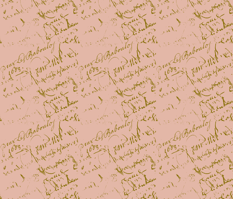 French Script Country Peach fabric by karenharveycox on Spoonflower - custom fabric