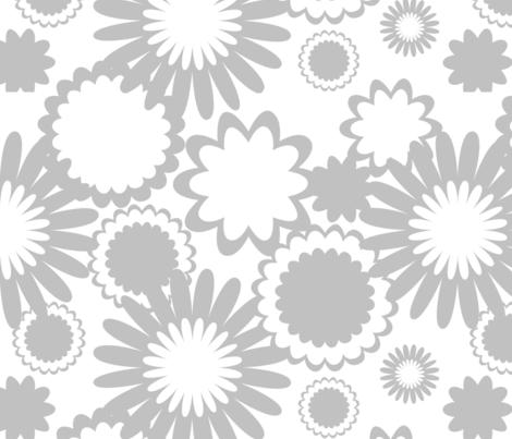 Gray Flowers fabric by bbsforbabies on Spoonflower - custom fabric