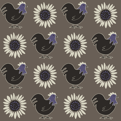 chickenandsunflower fabric by alyson_chase on Spoonflower - custom fabric