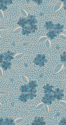 Flower Paisley Dot blue