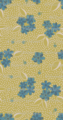 Flower Paisley Dot green
