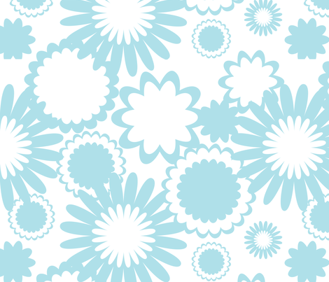 Turquoise Flowers fabric by bbsforbabies on Spoonflower - custom fabric