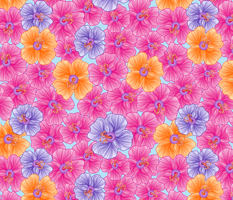 my pink garden fabric by juliagrifol on Spoonflower - custom fabric