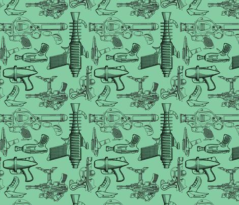 Ray Gun Revival (Green) fabric by studiofibonacci on Spoonflower - custom fabric