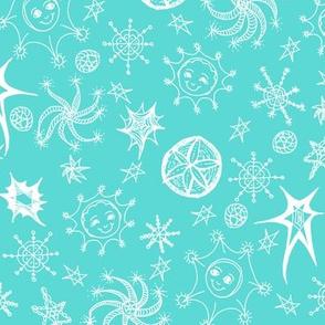 Cheerful Celestials - Aqua Frost.