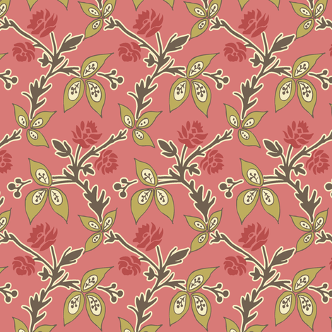 Viney_Floral_Rose fabric by modernprintcraft on Spoonflower - custom fabric