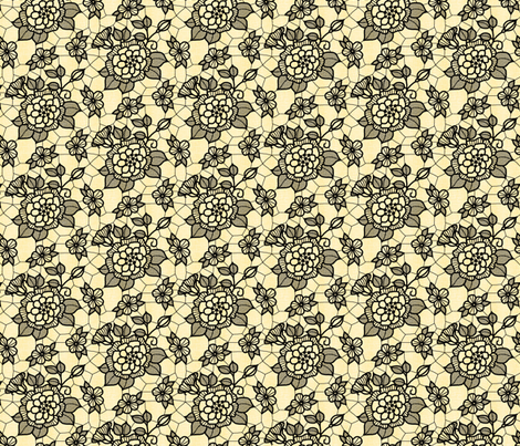 Black lace flower on pale gold  fabric by victorialasher on Spoonflower - custom fabric